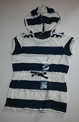New Tommy Hilfiger Navy Ivory Striped Hooded Tunic Tee Top Shirt Size 4T NWT
