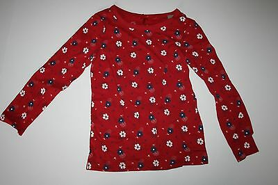 New NEXT UK Red with Navy White Flower Print Top 4T 5T 110cm NWT Long Sleeve