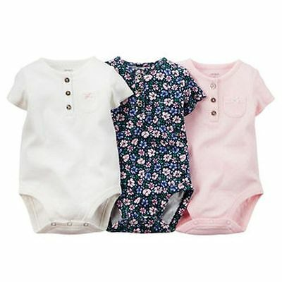 New Carter's 3 Pack Henley Style Bodysuits Pointelle NWT Size 3 6 9 12 18 24m