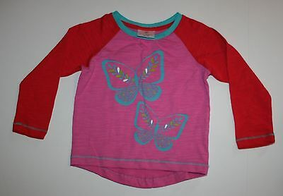 New Hanna Andersson Pink Red Butterfly Long Sleeve Top Shirt Size 3T or 90 NWT