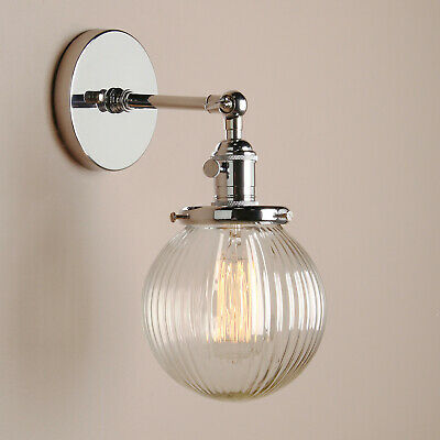 Vintage Rustic Sconce Wall  Lamp  Striped Glass Shade Wall Light Brass Fixture
