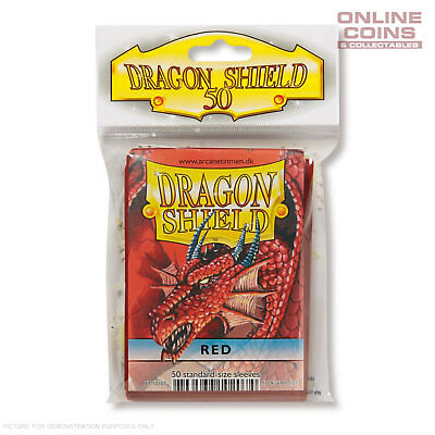 DRAGON SHIELD - Classic Standard Card Sleeves RED Pack of 50 #AT-10107