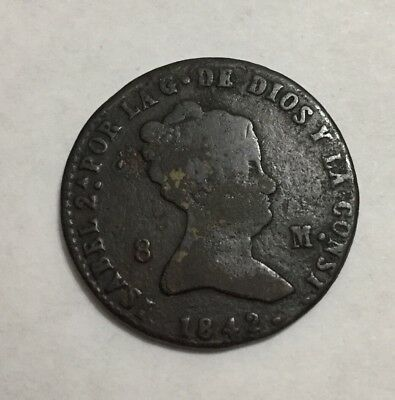 Spain 1842 8 Maravedis Spanish Coin