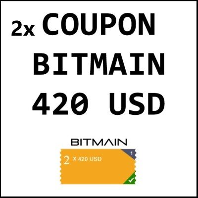 2 x $420 USD BITMAIN Antminer Coupons - Total Value US$840 (AU$1120 DISCOUNT)