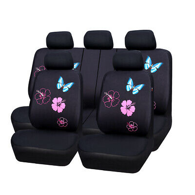Universal Car Seat Covers Butterfly For Women Girls Car Trusk SUV Airbag Fit Set