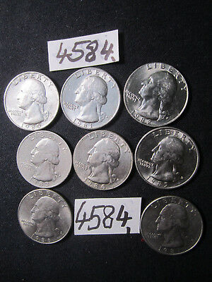 8 x Quarter dollar  coins   from  U.S.A.     32  gms      Mar4584