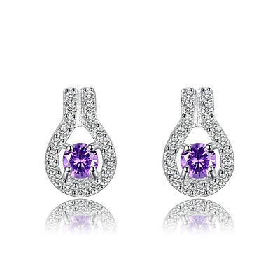 JewelryPalace Regal 0.37ct Genuine Gemstone Amethyst Studs Earrings 925 Silver