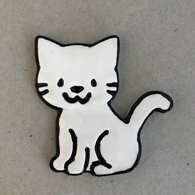 CERAMIC CAT - Sitting - White ~ Ceramic Mosaic Tiles