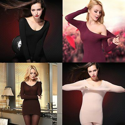 Women Thermal Underwear Heat-generating Tops+Bottoms Body Shaping Round Neck NQ