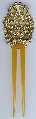 Antique Ornate Gold Tone & Celluloid Hair Comb
