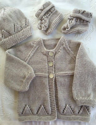 * New Born Plus * 3 Piece Baby Jacket Set * (Light) * Taupe * Aust HandKnitted