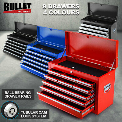 NEW BULLET 9 Drawer Tool Box Chest Mechanic Garage Storage Toolbox Organiser Set