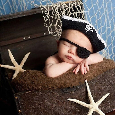 Newborn Baby Photography Prop Costume Crochet KnittedPirate Hat Caps Outfits Kit