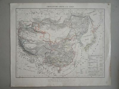 China und Japan Asien Altkarte Hand-Atlas Flemming kol. Lithographie 1844