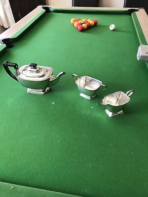 EPNS SILVER-PLATED 3 PCE ART DECO TEA SET BY YEOMAN c.1930s