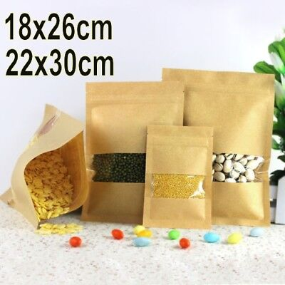 Brown Kraft Paper Window Bag Zip Lock Sealable Heat Seal Pouch Zip Lock Bag