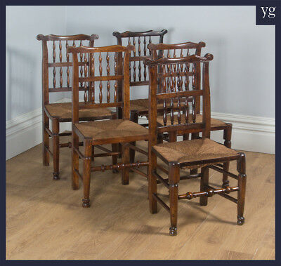 Antique Set 5 Five Georgian Ash Elm Spindle Back Rush Seat Kitchen Dining Chairs
