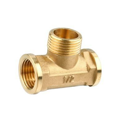 "Female Male Tee Fitting Tube Connector 1/2"" Three Way Forged Brass Thickened"