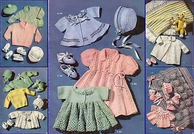50+ Baby Knitting and Crochet Patterns 3 & 4 ply Vintage Designs