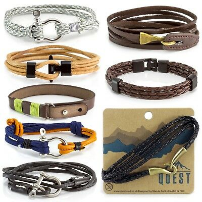 QUEST Mens Boys Leather Bracelet Wide Cuff Sailor Knot Braided Wristband Wrap