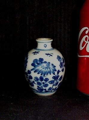 SMALL 6.5cm CHINESE 18th C KANGXI BLUE AND WHITE PORCELAIN VASE or SNUFF BOTTLE