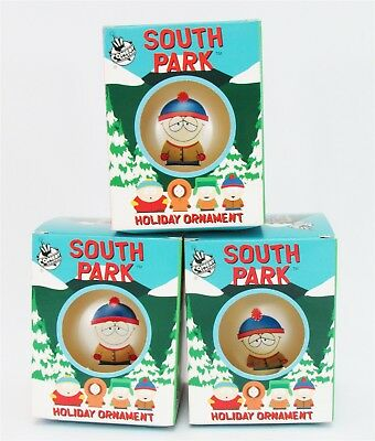 Lot of 3 South Park Stan Glass Ornament Ball Holiday xmas Tree Rare Collectible