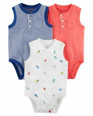 New Carter's 3 Pack Boys Bodysuits Tank Tops Bugs Henley 6m 9m 12m 18m NWT