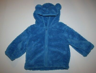 New Gymboree Outlet Blue Furry Zip Cardigan Hoodie Size 12-18 months NWT Jacket