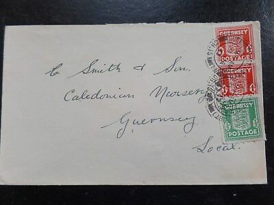 Guernsey 1/2d + 2x1d Arms Commercial cover 9 Jan 1943