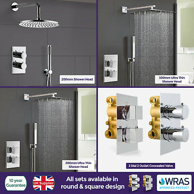 Round Square 2 Dial 2 Way Concealed Thermostatic Shower Head Mixer Valve Set