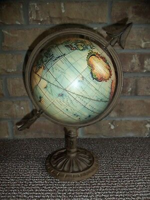 Vintage  French World Globe With Iron Stand and Arrow