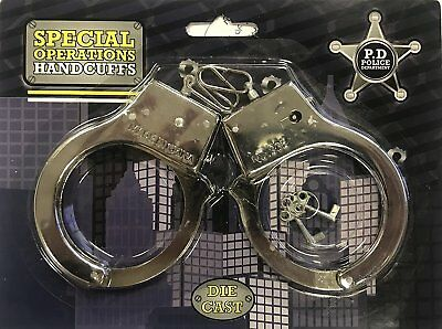 Job Lot Clearance Wholesale Police Toy Diecast Metal Handcuffs with Keys Bulk