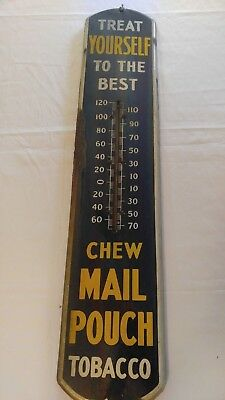 Porcelain Advertising Antique Vintage Thermometer Sign Chew Mail Pouch Tobacco