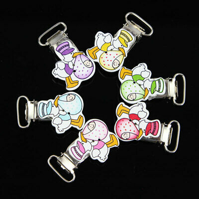 10x Cute  Infant Baby Wooden// Plastic Pacifier Suspender Clips Dummy Nipples New