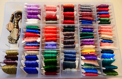 Lot of 97 Misc embriodery yarn / thread with case - New and used