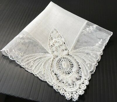 Vintage Hand Made Lace and Linen Handkerchief Hankie White Wedding