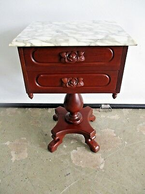 Antique Rosewood Reproduction Side Table Lamp Table W/ Italian Marble Top &  Dou