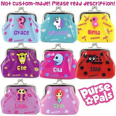 Girls Small Personalised Name Kids Cute Animal Character Plastic PVC Coin Purse