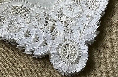 Vintage Hand Made Lace and Linen Handkerchief Hankie Wedding