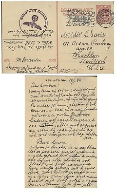 Judaica PC Netherlands to Jewish family in Brooklyn, censored, 1941.n40