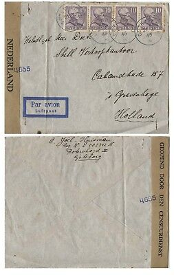 Holland Jewish family Sweden to address in Holland, airmail, Dutch Censor, 1945