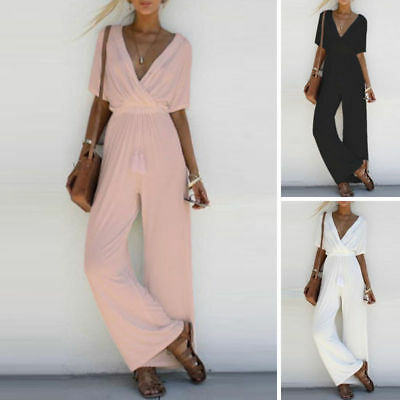 Fashion Women V Neck Loose Playsuit Party Romper Short Sleeve Long Jumpsuit hot