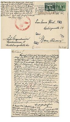 Judaica PC from the Netherlands to Jewish address in Swiss, Censored, 1942.n40