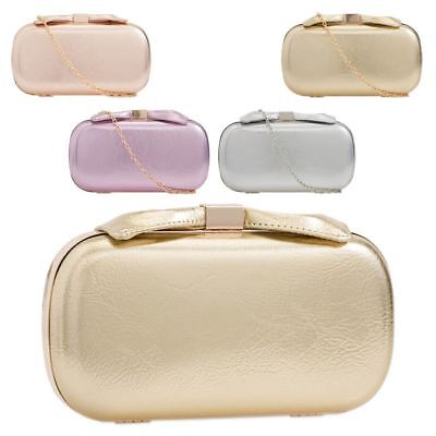 New Hard Compact Faux Leather Ladies Evening Clutch Bag Purse