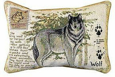 "Wolf  Wilderness Decorative Pillow 12.5"" X 12.5"" New With Tag by Manual Weavers"