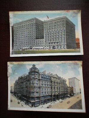 Vintage Postcards Chicago Il 1917  Palmer House & Congress Hotel