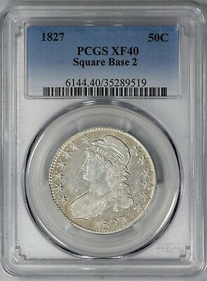 1827/6 Capped Bust Half Dollar 50C Pcgs Cert Xf 40 Square Base 2 O-102 (519)