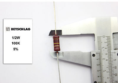VINTAGE BEYSCHLAG RESISTOR. 1/2W 100K 5% *1 PC* NOS (New Old Stock)