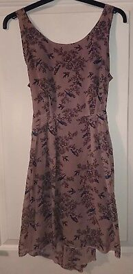 Beautiful floaty vintage floral and bird print dress/tunic, M (10/12),VGC