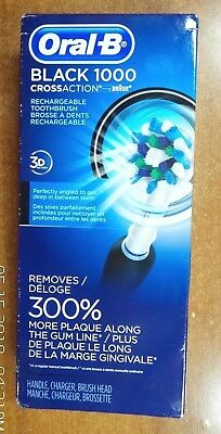 *CUT PACKAGING* Oral-B Black Pro 1000 Power Rechargeable Toothbrush Powered